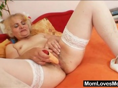 Grandma has solo toy sex in white stockings videos