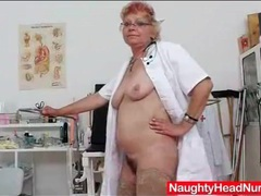 Nurse grandma toy bangs her hairy pussy videos