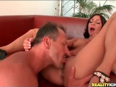Gal with her legs spread wide for cunt eating videos