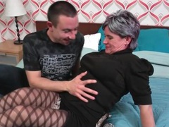 Granny in pantyhose makes out with a young guy videos