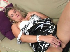 Mature in a satin dress and panties masturbates videos