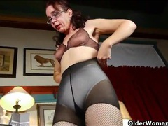 Skinny mature tries on her new fishnet pantyhose videos