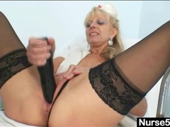 50 year old nurse gets horny and fucks a toy tubes