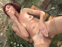 Old redhead plays with her nipple ring movies at sgirls.net