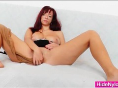 Redhead with marvelous big tits in pantyhose videos