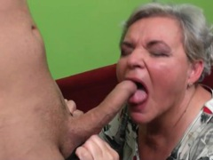 Granny gets on her knees and sucks dick movies at adipics.com