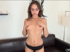 Sensual sara luvv strips and fucks a toy tubes