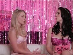 Two glamorous girls go topless and chat movies at sgirls.net