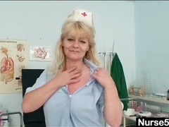 Black stockings look gorgeous on this mature nurse videos