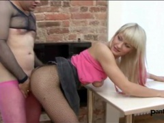 Pantyhose fetish sex with a chick in fishnets movies at adspics.com
