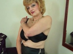 Tight leather skirt on a flirty solo mature videos