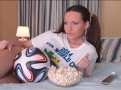 Cute soccer fan subil arch solo tease video movies at find-best-hardcore.com