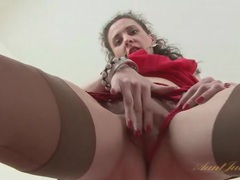 Small tits milf in a pretty red dress and stockings movies