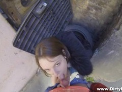 Amateur sucks dick lustily in an alley movies at find-best-lesbians.com