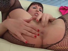Corset and black fishnet pantyhose on a milf videos