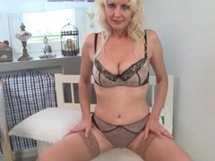 Stockings and lingerie look great on a blonde mature videos