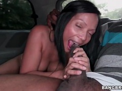 Interracial sex in the car with a big booty babe videos