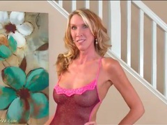 Breathtaking mature blonde in sheer lingerie videos
