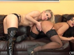 Two stunners in black lingerie have lesbian sex videos