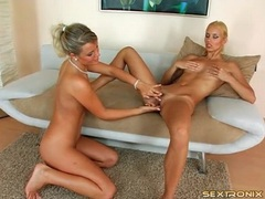 Euro blonde lesbians suck tits and pussy videos