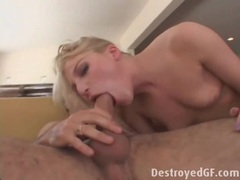Small boobs blonde anal girl gives an atm blowjob videos