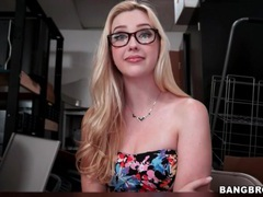Glasses beauty with a gorgeous body strips movies at lingerie-mania.com