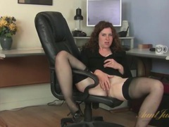 Curly hair milf office babe strips at work movies at lingerie-mania.com