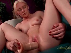 Pierced clit blonde fucks a big dildo videos