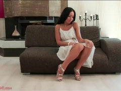 Sexy soft white dress on a stripping brunette videos