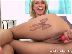 Flexible chick with tattooed legs fucks a toy videos