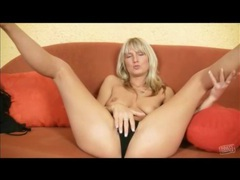 Solo blonde masturbates in her sheer panties movies