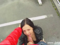 Blowjob in a parking lot from a cute chick clip
