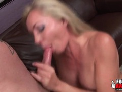 Sloppy spit soaked blowjob from a busty babe movies at lingerie-mania.com