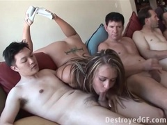Slut blows a bunch of guys in a group video movies at lingerie-mania.com