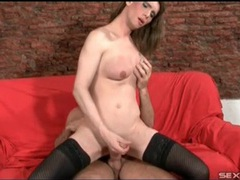 His shemale lover in stockings sits on his cock movies at kilotop.com