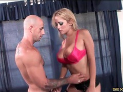 Fake titty hottie swallows his dick with skill movies at lingerie-mania.com