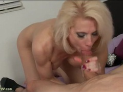 Old blonde babe has a young dick to suck on videos