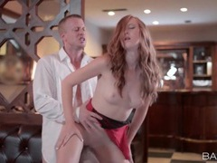 Redhead banged passionately at a restaurant movies at lingerie-mania.com