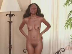 Solo black milf strips and chats in an interview videos