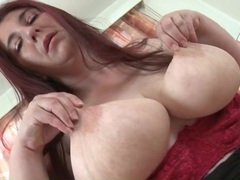 Chubby old redhead fondles her big natural tits movies at lingerie-mania.com
