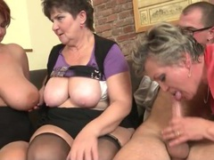 Three old babes with big boobies share his dick clip