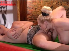 Curvy glam girls in lingerie lick pussy on the pool table movies at find-best-tits.com