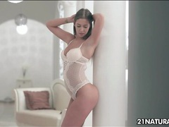 Beautiful girl in a white lace teddy wants to fuck movies