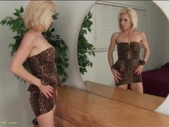 Stunningly hot leopard print dress on a mature babe movies at find-best-videos.com