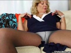 Chubby mama looks sexy in pantyhose movies at lingerie-mania.com