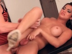 Gorgeous shemale and her man fuck each other bareback videos