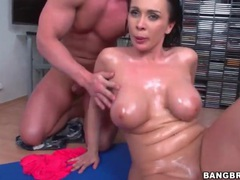 Dick slides between those big oiled up titties videos