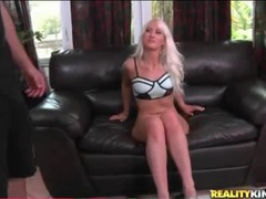 Bleach blonde temptress has insanely long legs videos