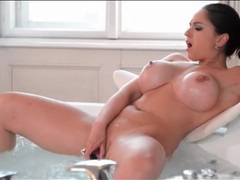 Masturbation in the bathtub with a busty babe movies at lingerie-mania.com