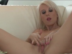 Dyed blonde hair looks sexy on a toy fucking mom movies at lingerie-mania.com